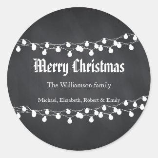 Sticker Rond Lumières de Noël noires de vacances de tableau