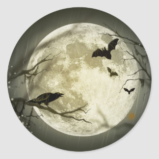 Sticker Rond Lune de Halloween - illustration de pleine lune