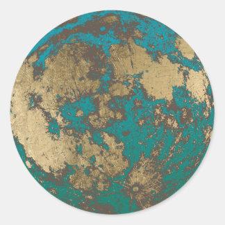 Sticker Rond Lune d'or moderne de lune pleine rouillée