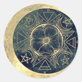 Sticker Rond Lune et talisman d'étoiles