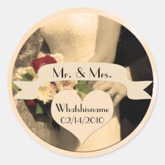 Sticker Rond M. et Mme dans la sépia avec la date de mariage