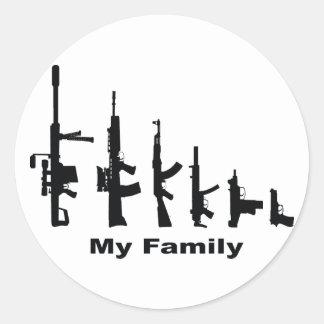 Sticker Rond Ma famille (armes à feu d'amour d'I)