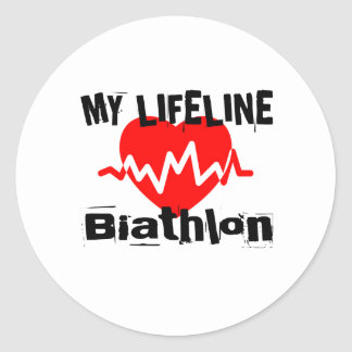 Sticker Rond Ma ligne de vie biathlon folâtre des conceptions