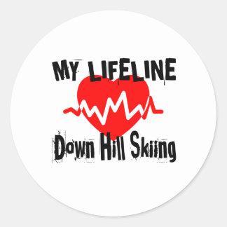 Sticker Rond Ma ligne de vie vers le bas ski de colline folâtre