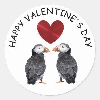 Sticker Rond Macareux de heureuse Sainte-Valentin et