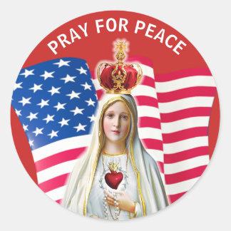 Sticker Rond Madame de mère bénie par DRAPEAU de Fatima