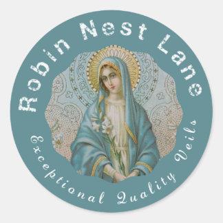Sticker Rond Madonna a béni le lis de Vierge Marie