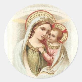 Sticker Rond Madonna a béni Mary avec le bébé Jésus