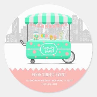 Sticker Rond Magasin de sucrerie de rue de nourriture
