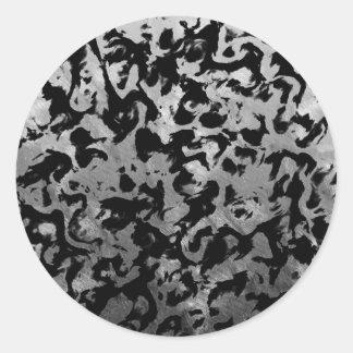 Sticker Rond Magie abstraite - noir argenté
