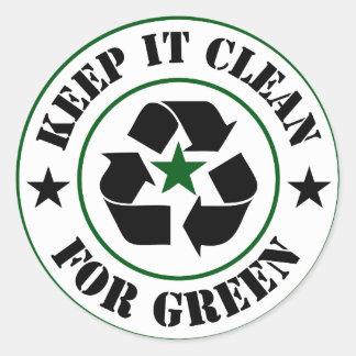 Sticker Rond Maintenez-le propre pour le logo vert