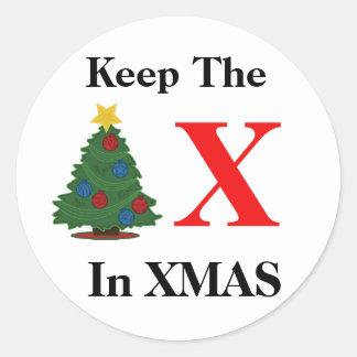 Sticker Rond Maintenez X dans Noël