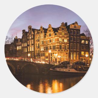 Sticker Rond Maisons de canal d'Amsterdam à l'autocollant rond