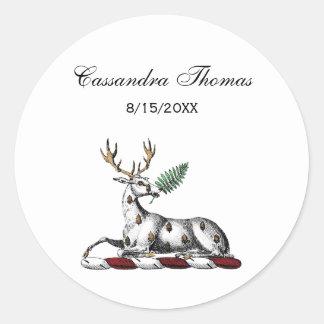 Sticker Rond Mâle de cerfs communs avec l'emblème héraldique de
