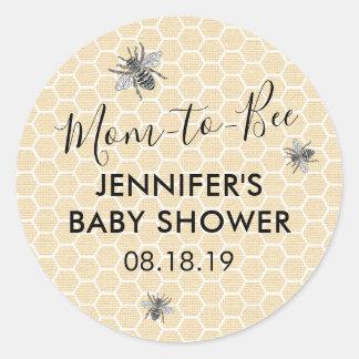 Sticker Rond Maman vintage rustique au baby shower d'abeille