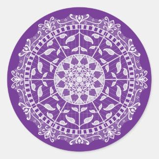 Sticker Rond Mandala d'aubergine