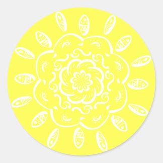 Sticker Rond Mandala de citron