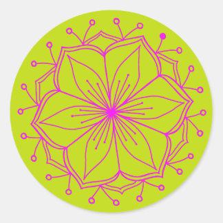 Sticker Rond Mandala de fleur de Lotus de chaux de framboise