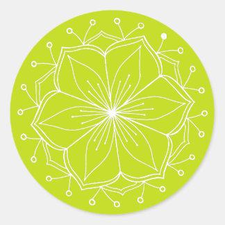 Sticker Rond Mandala de fleur de Lotus de vert de chaux