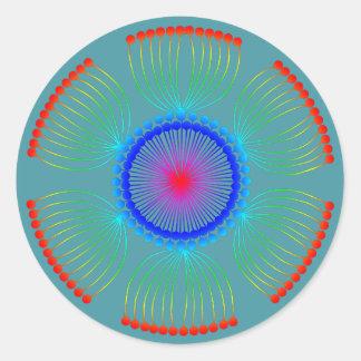 Sticker Rond Mandala de graine d'oeillette d'Aqua