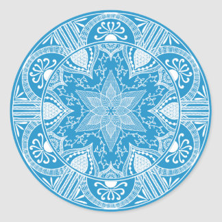 Sticker Rond Mandala d'oiseau bleu