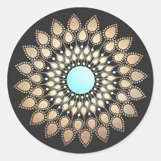Sticker Rond Mandala élégant de fleur de Lotus