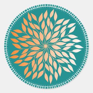 Sticker Rond Mandala feuillu orange de loriot sur Teal