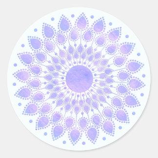 Sticker Rond Mandala floral de Lotus de lavande