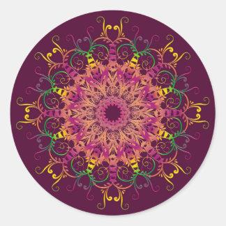 Sticker Rond Mandala floral ethnique
