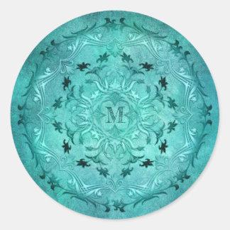 Sticker Rond Mandala floral ethnique de grunge de turquoise
