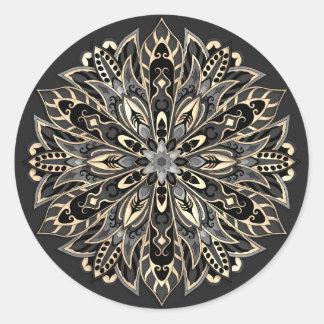 Sticker Rond Mandala noir et brun géométrique tribal