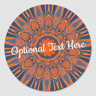 Sticker Rond Mandala orange de bleu marine