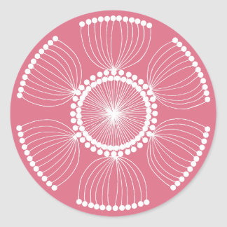 Sticker Rond Mandala rose de graine d'oeillette