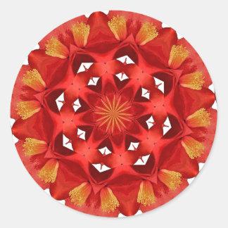 Sticker Rond Mandala rouge de camélia