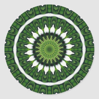 Sticker Rond Mandala vert tropical
