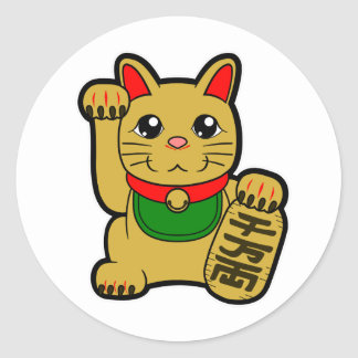 Sticker Rond Maneki Neko : Chat chanceux d'or