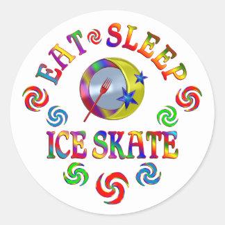 Sticker Rond Mangez le patin de glace de sommeil