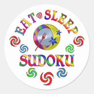 Sticker Rond Mangez le sommeil Sudoku