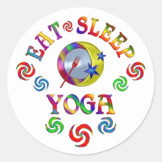Sticker Rond Mangez le yoga de sommeil