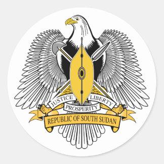 Sticker Rond Manteau du sud du Soudan d'autocollant de bras