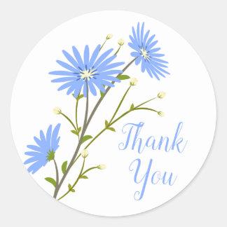 Sticker Rond Marguerites bleues florales de mariage de fleur de