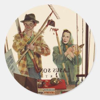 Sticker Rond Mari vintage et épouse avec des outils de