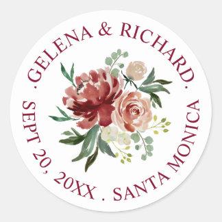 Sticker Rond Mariage de bouquet floral d'aquarelle de rouille