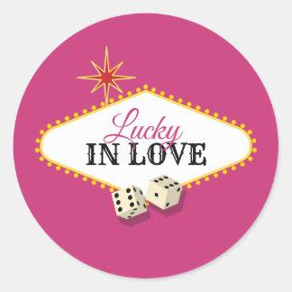 Sticker Rond Mariage de chapiteau de Las Vegas en magenta