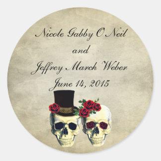 Sticker Rond Mariage de crâne de jeune mariée et de marié