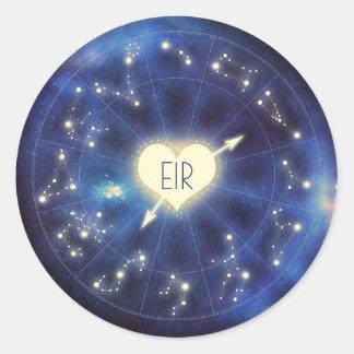 Sticker Rond Mariage de nuit étoilée de zodiaque de