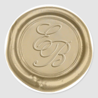 Sticker Rond Mariage de phoque de cire d'or de monogramme