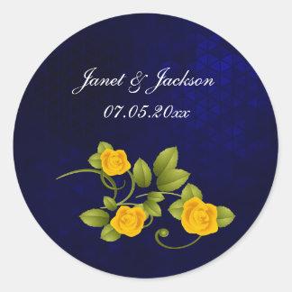 Sticker Rond Mariage de rose bleu-foncé et jaune