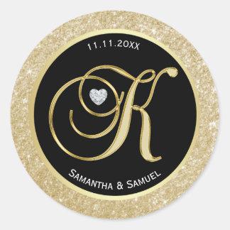 """Sticker Rond Mariage élégant de la lettre """"K"""" de monogramme de"""