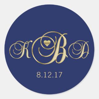 Sticker Rond Mariage élégant de monogramme d'or de bleu marine